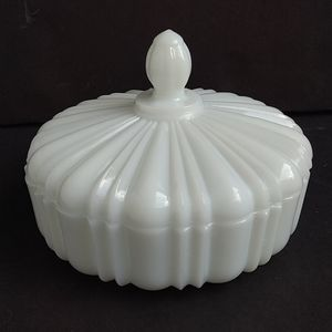 Vintage Milk Glass Candy Nut Dish with Lid